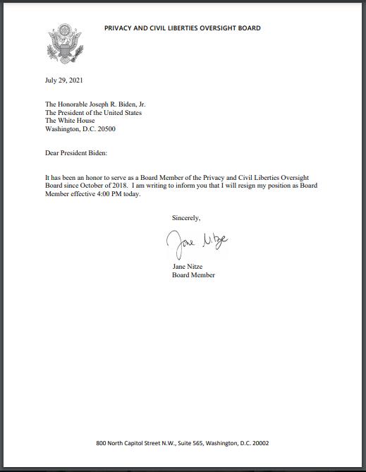 Board Member Nitze's Letter to the President - Board Member Jane E. Nitze Resigns from the PCLOB