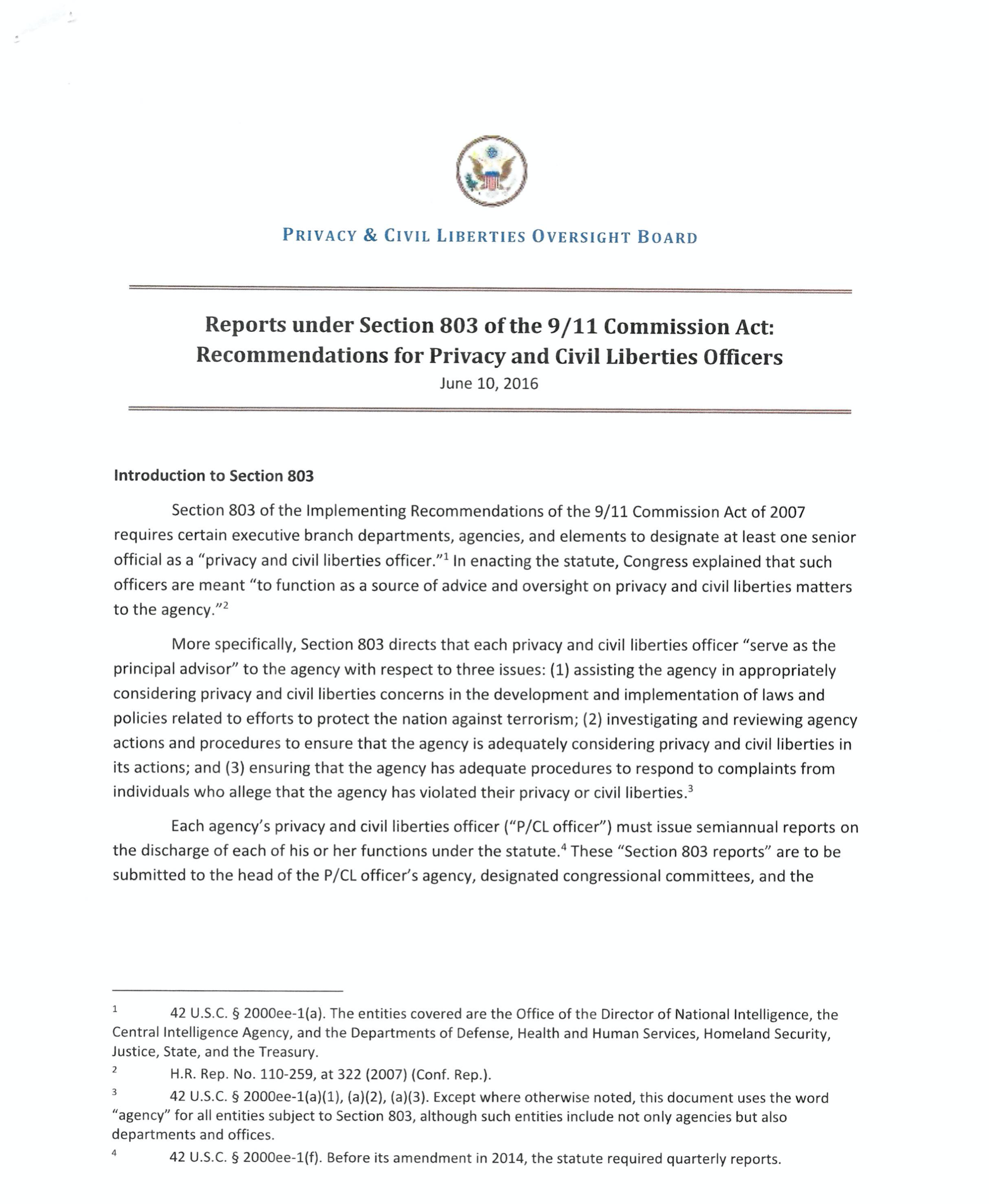 Reports under Section 803 of the 9/11 Commission Act